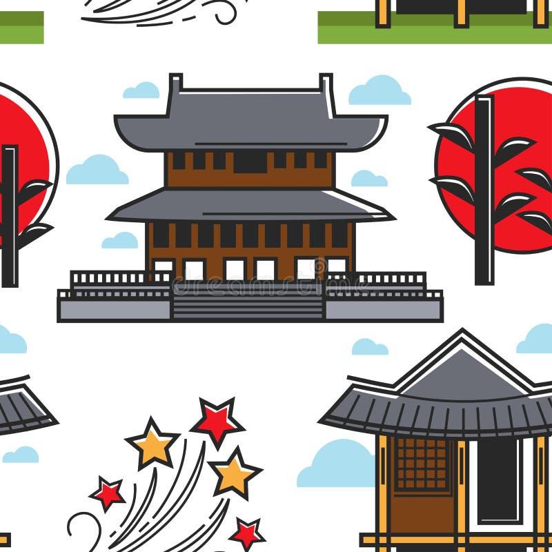 韩国建筑学大厦日落植物和星无缝的样式 皇族释放例证