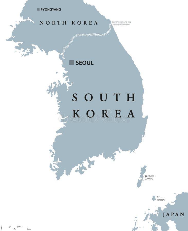 韩国政治地图 向量例证