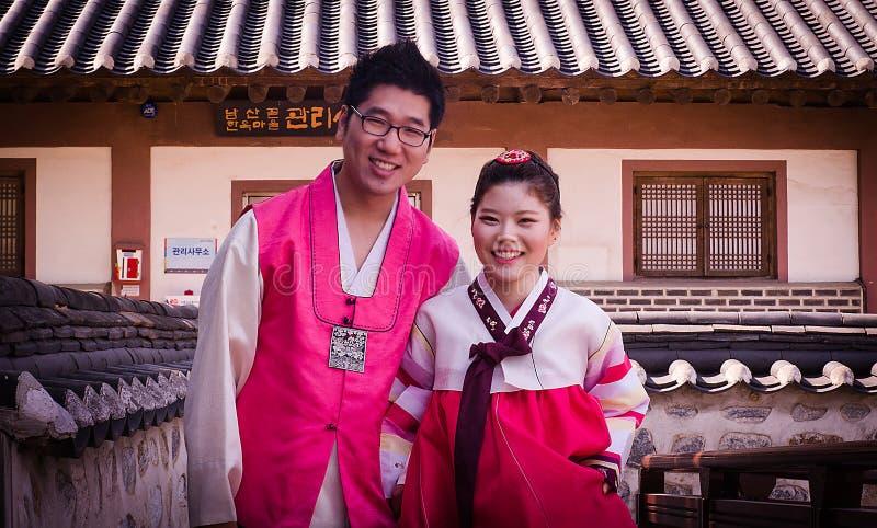 韩国新娘和新郎 库存照片