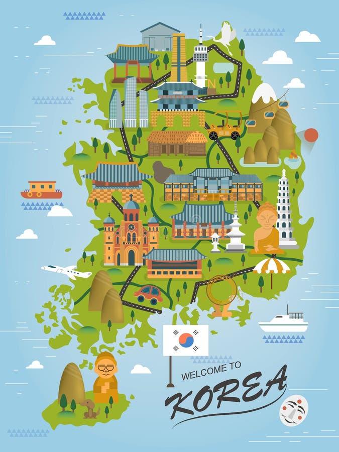 韩国旅行地图 向量例证