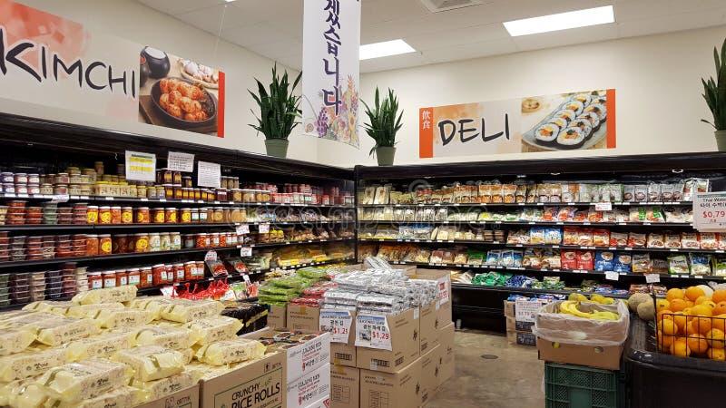 韩国泡菜和熟食店部分在Palama市场里面 库存照片
