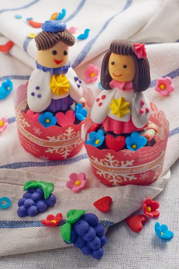 韩国玩偶杯形蛋糕 库存图片