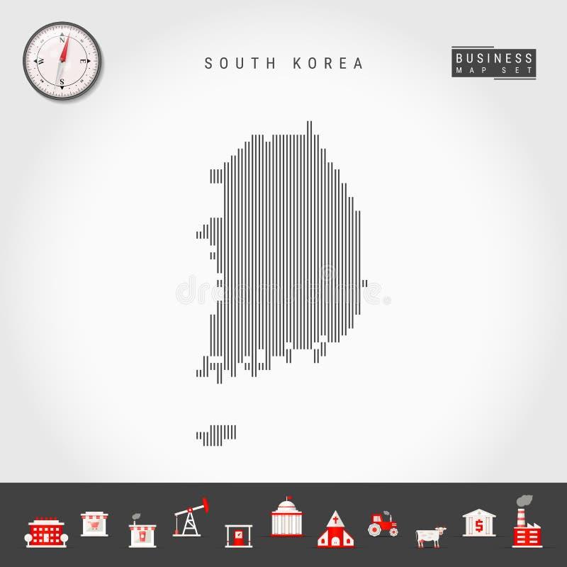 韩国的传染媒介垂直线地图 韩国的镶边剪影 现实指南针 r 库存例证