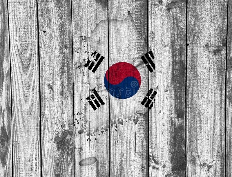 韩国的地图和旗子 库存图片