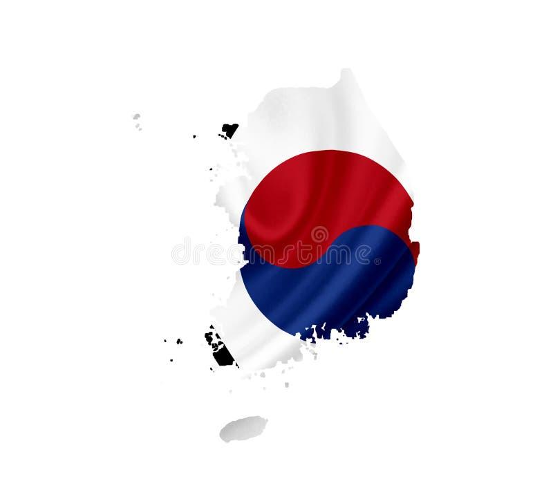 韩国的地图有在白色隔绝的挥动的旗子的 免版税库存照片
