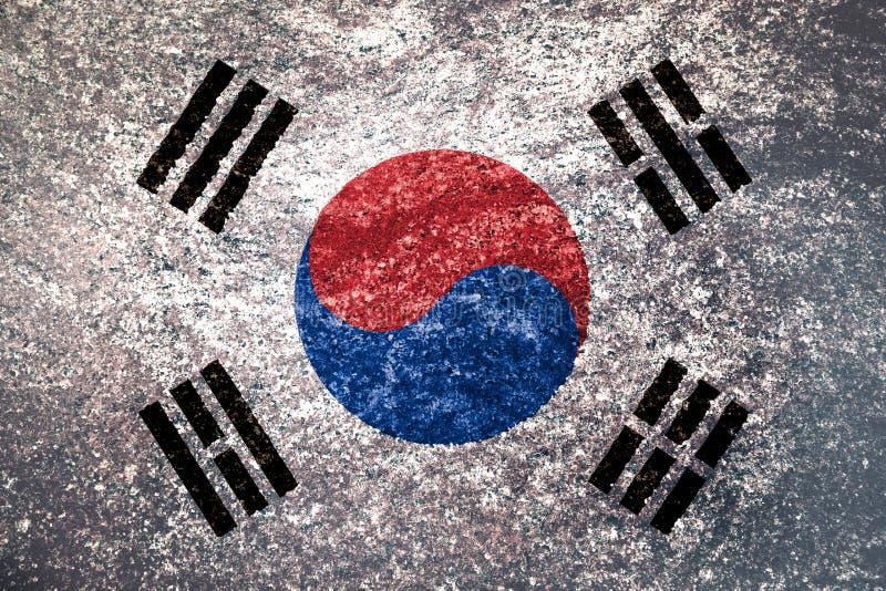 韩国的旗子的纹理 库存照片