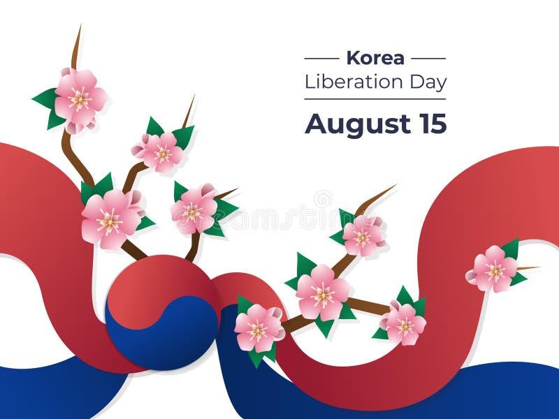 韩国解放天在韩国,例证8月15日,与旗子和樱桃树的五颜六色的传染媒介 向量例证