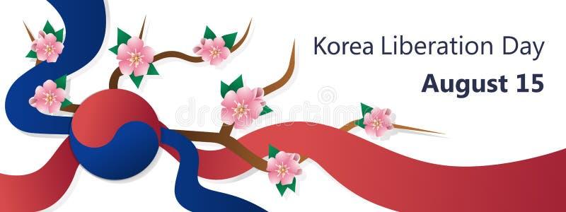 韩国解放天在韩国,模板8月15日,五颜六色的传染媒介横幅 库存例证