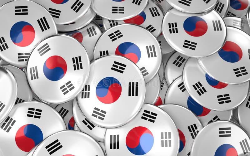韩国证章背景-堆韩国旗子按钮 向量例证