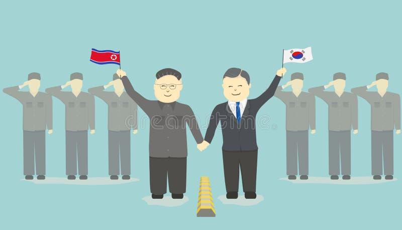 韩国领导和北朝鲜的领导一起加入手 皇族释放例证