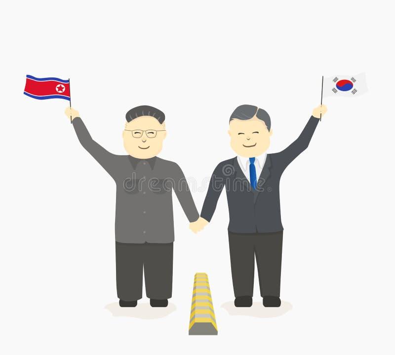 韩国领导和北朝鲜的领导一起加入手 向量例证
