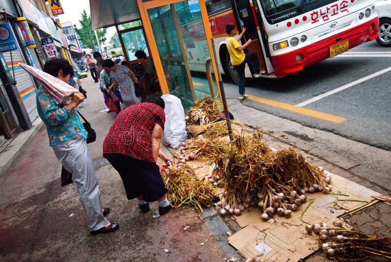 韩国,菜街边小贩 库存图片