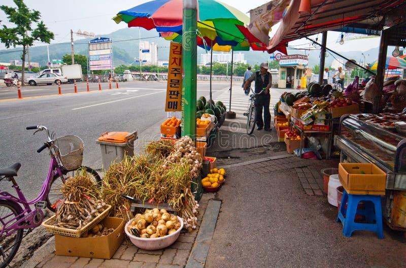 韩国,菜街边小贩 免版税图库摄影