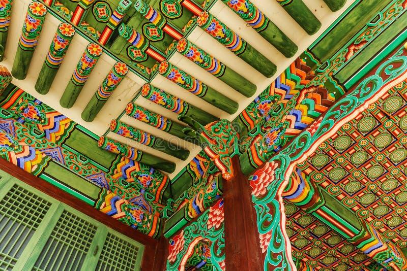 韩国绘画传统建筑学 库存照片