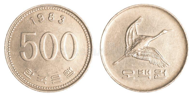 500韩国wons硬币 免版税库存图片