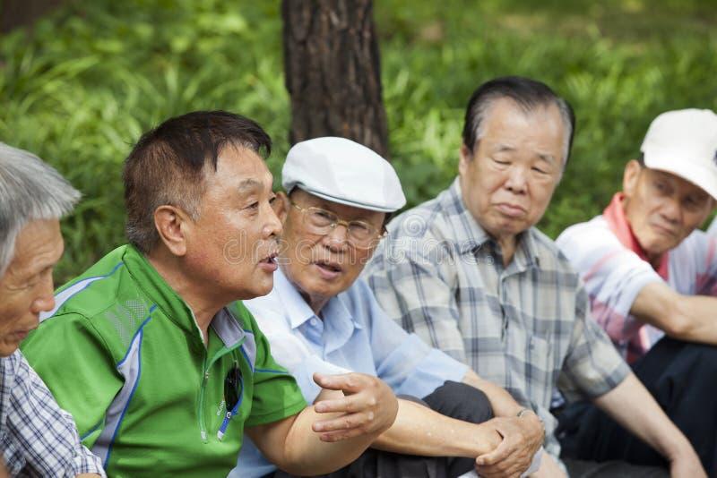 韩文人讲故事。 免版税库存照片