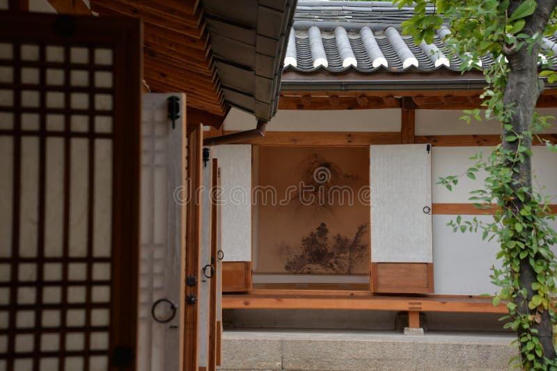韩文传统结构 老房子在汉城,韩国 图库摄影