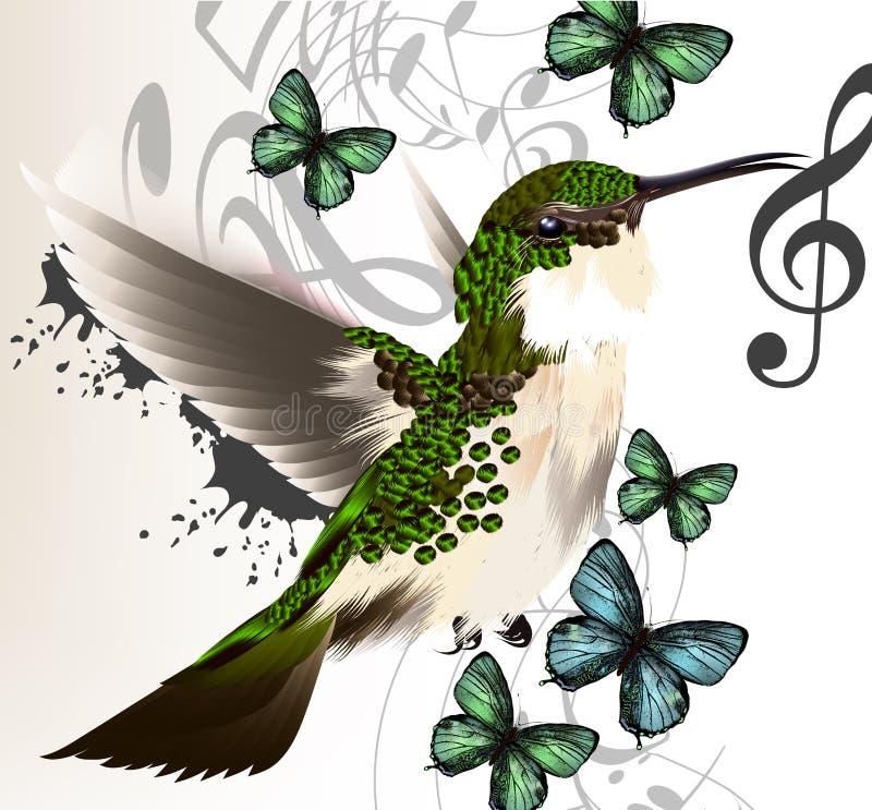 音乐与哼唱着鸟、蝴蝶和笔记的传染媒介背景 库存例证
