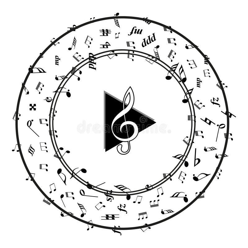 音乐与音乐笔记的戏剧象 库存例证