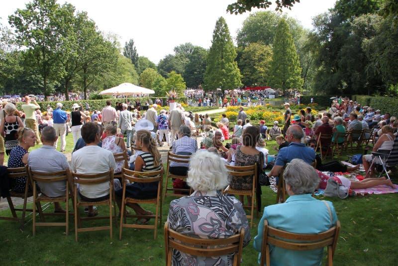 音乐事件在公园在城市鹿特丹在夏天 免版税库存照片