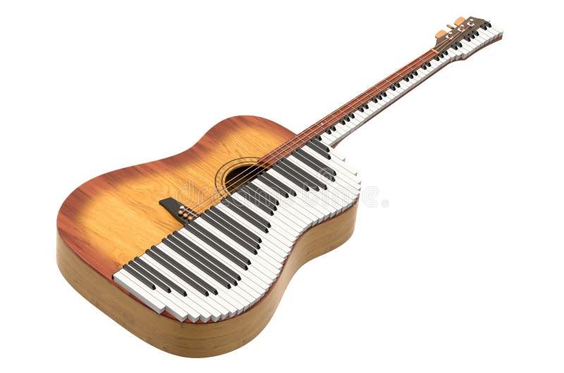 音乐二重奏概念 声学吉他和钢琴 3d?? 向量例证