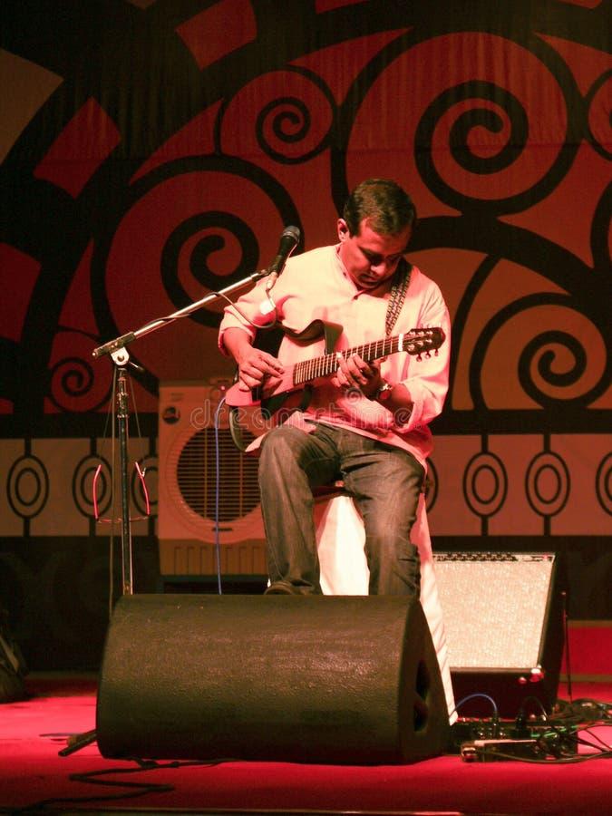 音乐会吉他弹奏者印地安人活使用 库存照片