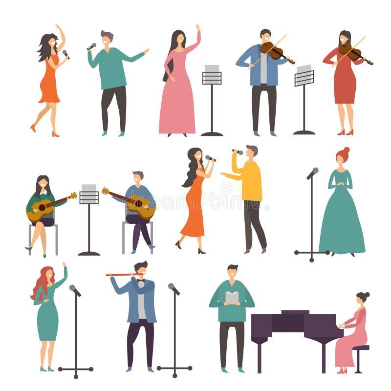 音乐会和音乐小组 声音二重奏 音乐家和歌手表现 皇族释放例证