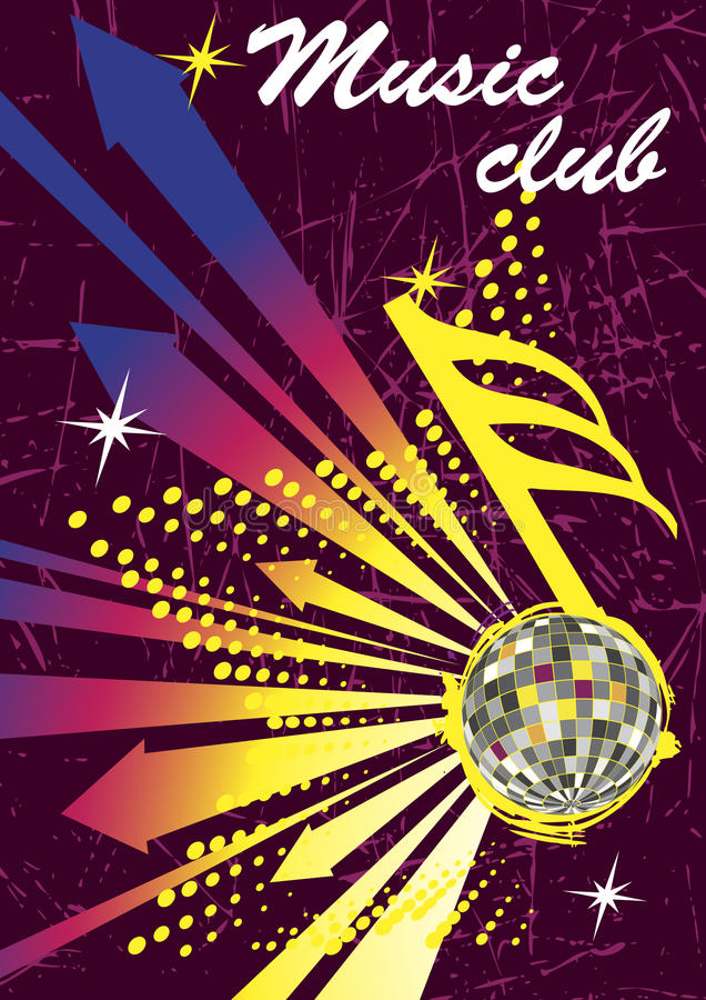 音乐俱乐部海报的五颜六色的箭头 抽象舞蹈背景 向量例证