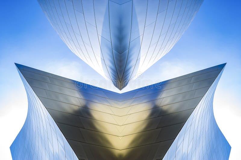 音乐厅金属反射性曲线洛杉矶 免版税库存图片
