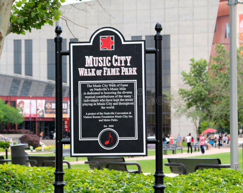 音乐名望公园标志,纳稀威田纳西城市步行  免版税库存照片