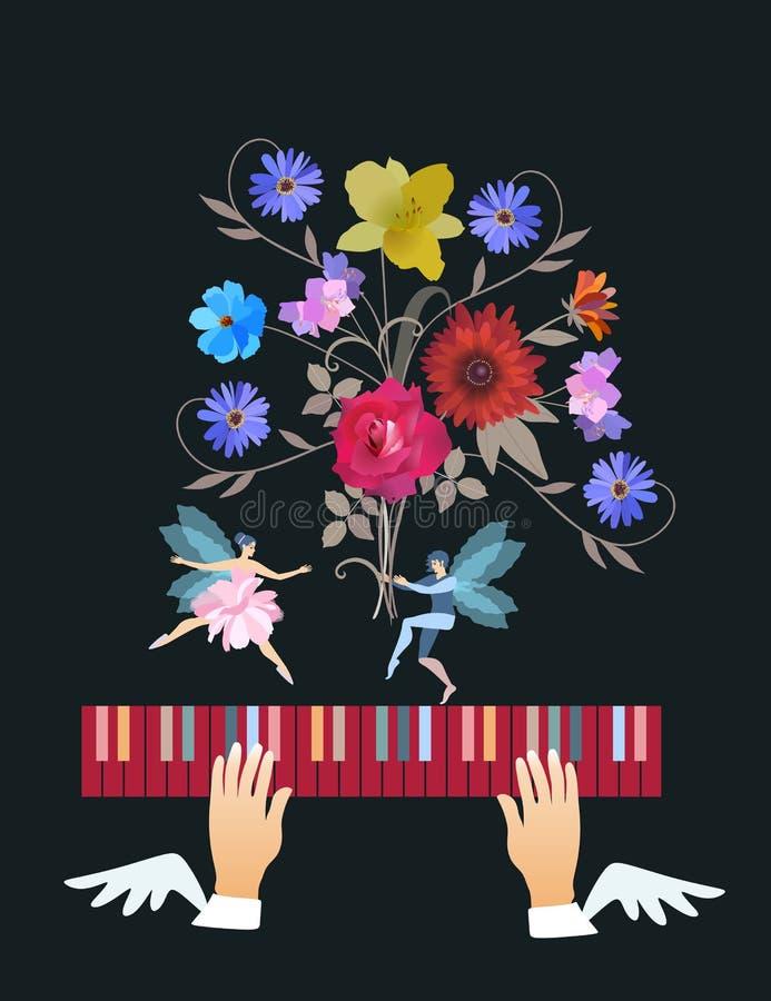 音乐和启发的符号图象以跳舞与大花束的小飞过的童话矮子舞蹈家的形式 库存例证