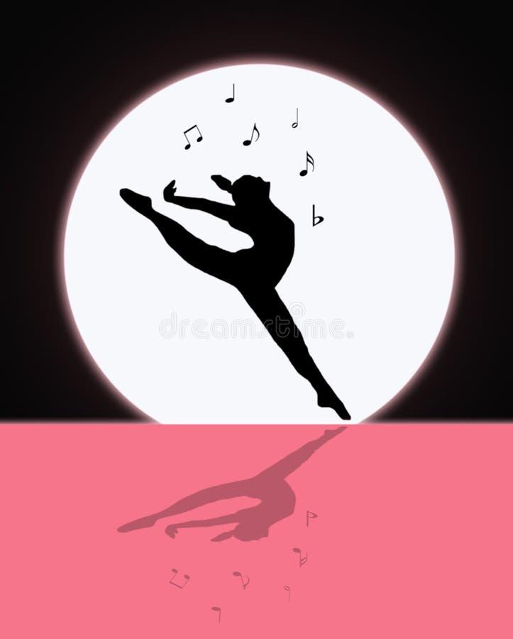 音乐和舞蹈在月光 向量例证