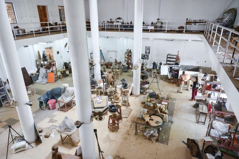音乐和艺术学院在印度,喀拉拉 免版税库存照片