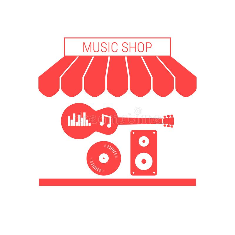音乐商店、乐器和设备唯一平的传染媒介象 镶边遮篷和牌 向量例证