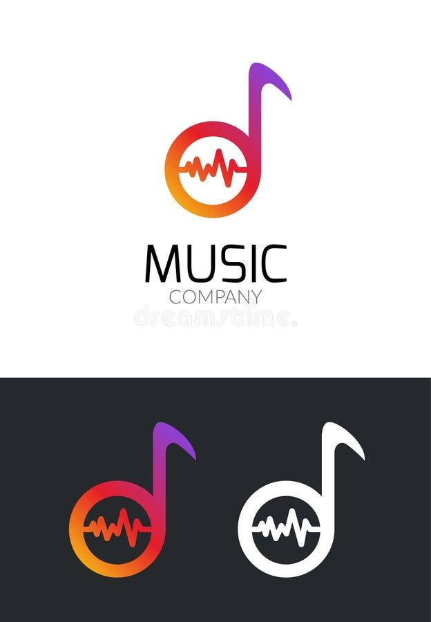 音乐商标设计观念 音乐公司的企业创造性的象 流动app或演播室的合理的音频品牌 音乐播放器 向量例证