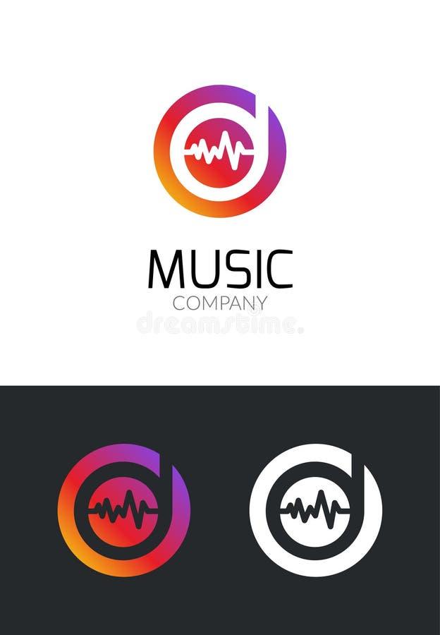 音乐商标设计观念 音乐公司的企业创造性的象 流动app或演播室的合理的音频品牌 库存例证