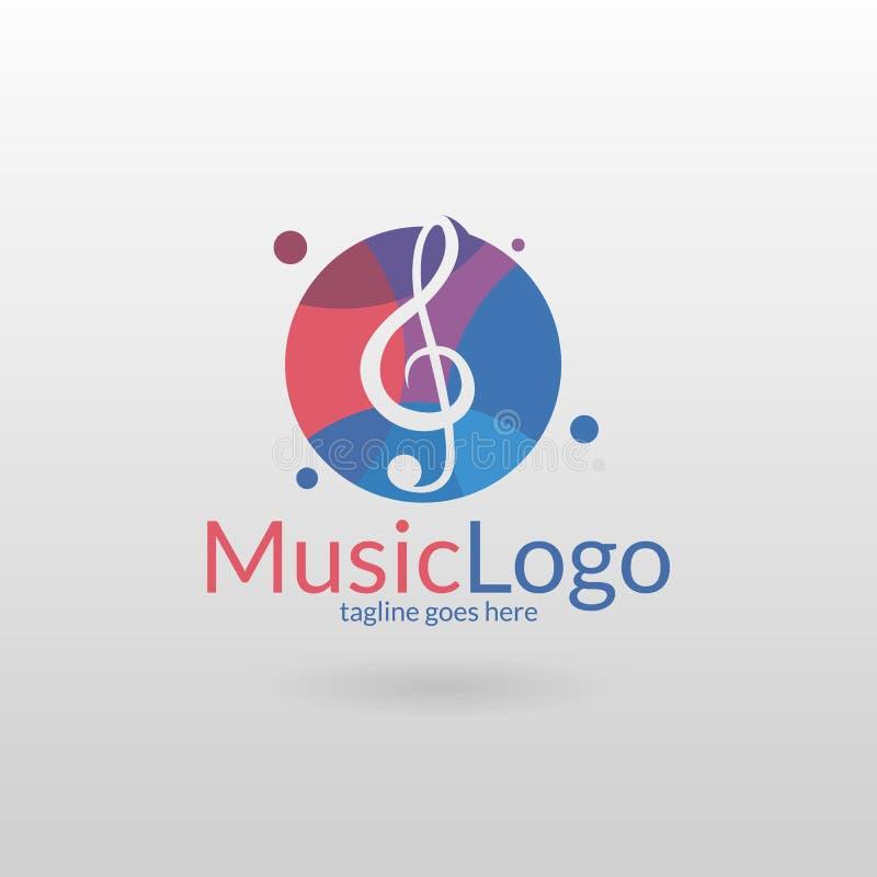 音乐商标 一家音乐公司的音乐主调单音模板商标 向量例证
