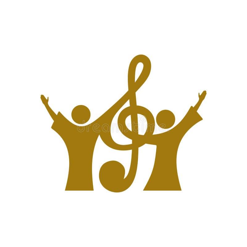 音乐商标 基督徒符号 信徒在耶稣唱赞美歌曲给阁下 皇族释放例证