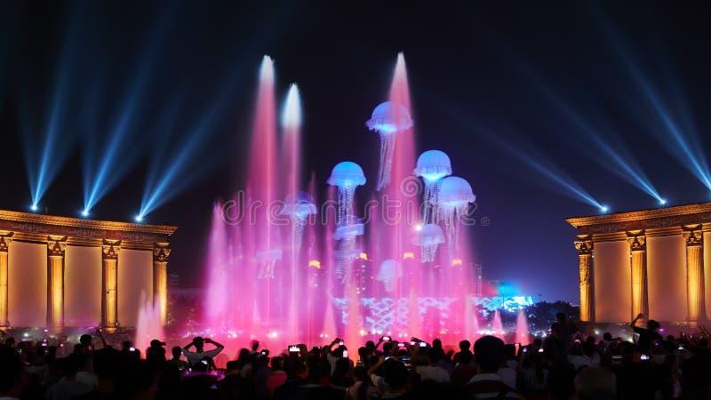 音乐喷泉照明设备展示党 免版税库存图片