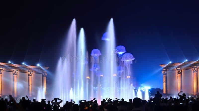 音乐喷泉照明设备展示党 免版税库存照片