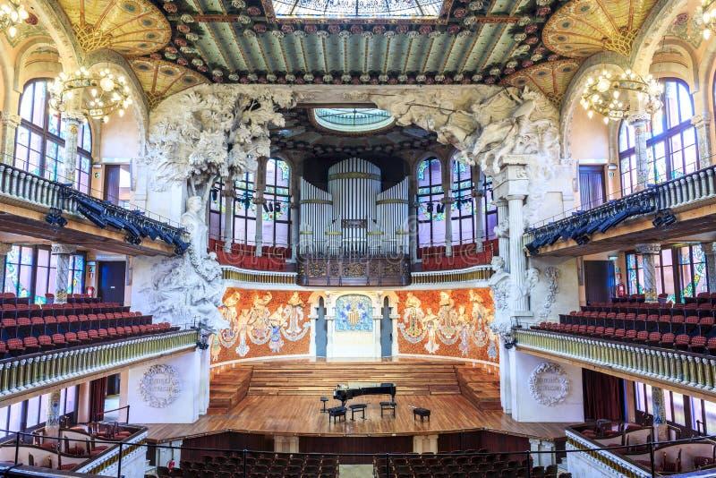 音乐堂在音乐宫殿Gaudi,巴塞罗那,西班牙 库存照片