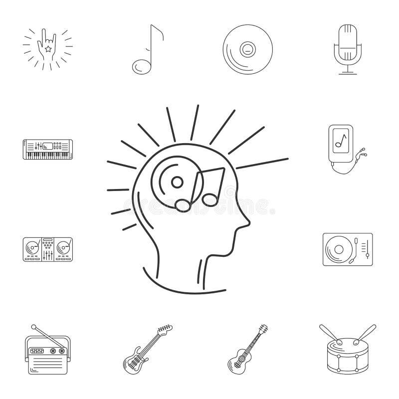音乐头脑象 简单的元素例证 音乐头脑sym 库存例证