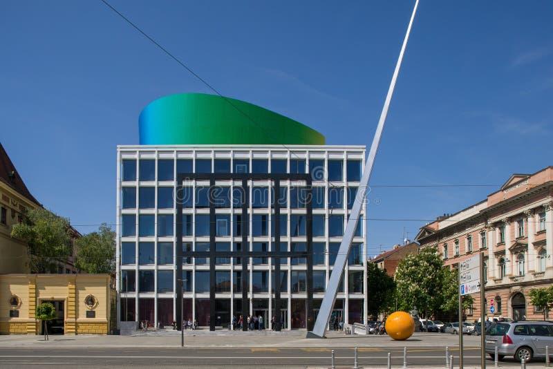 音乐学院新的现代大厦在萨格勒布 免版税库存照片