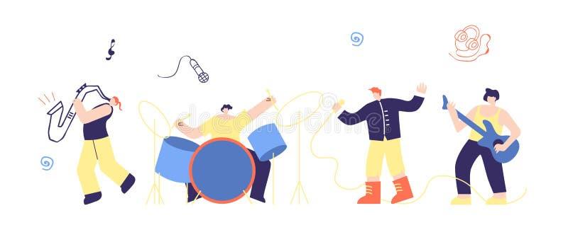 音乐家人震动流行音乐男孩结合平的动画片 库存例证