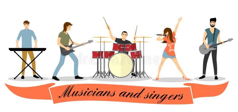 音乐家和歌手传染媒介集合 范围例证音乐家岩石现出轮廓六向量 库存例证