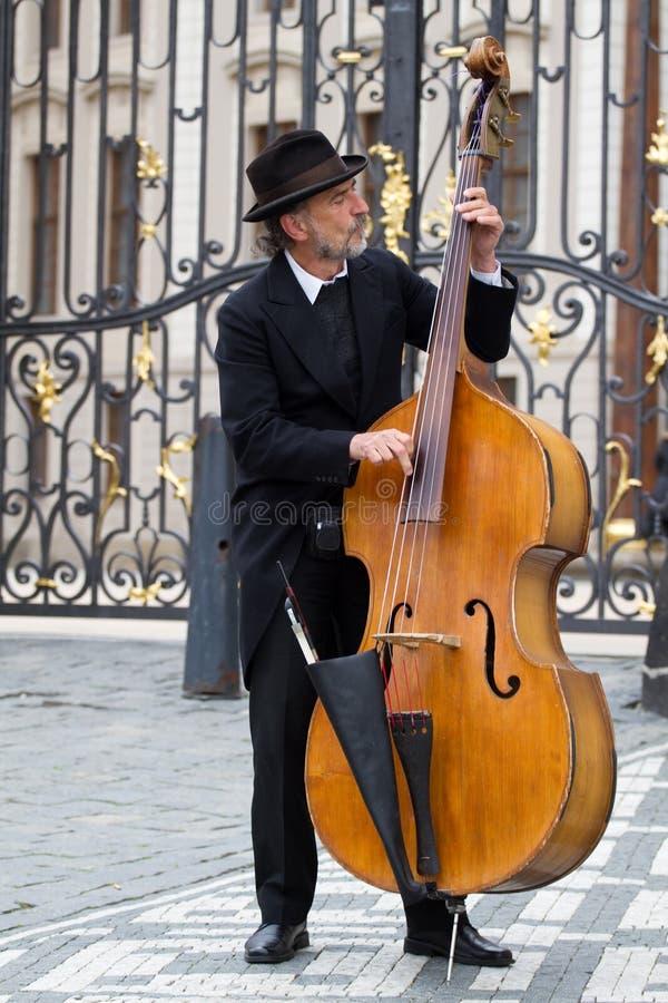 音乐家布拉格街道 免版税图库摄影