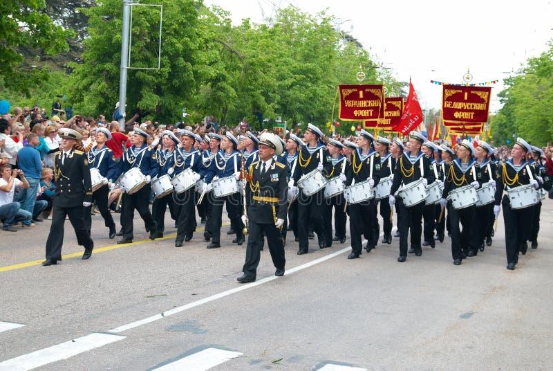 音乐家海军游行俄语 免版税库存照片