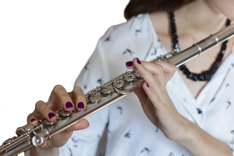 音乐家长笛演奏家女孩长笛演员隔绝了图象 图库摄影