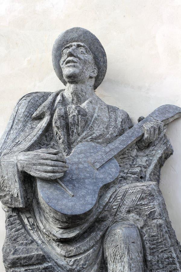 音乐家雕象 库存照片