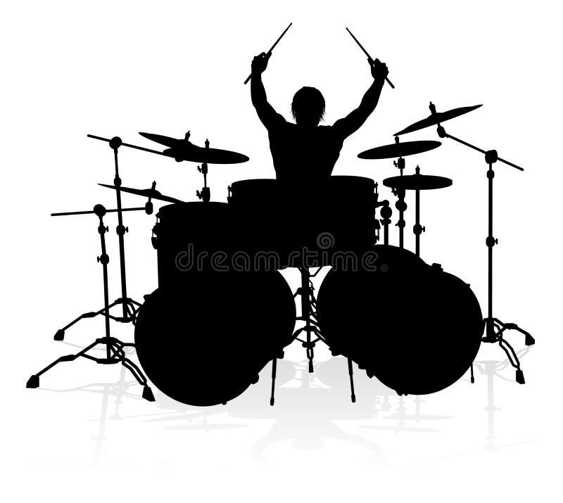 音乐家鼓手剪影 向量例证